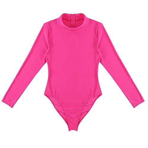 FEESHOW Womens Mock Turtleneck Leotard Bodysuit Ladies Long Sleeve Stretch Jumpsuit Rose Medium