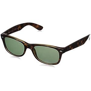 Ray-Ban rb2132 Unisex New Wayfarer Polarized Sunglasses, Tortoise/Crystal Green, 55mm