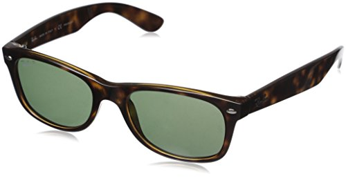 Ray-Ban, RB2132, New Wayfarer Sunglasses, Unisex Ray-Ban Glasses, 100% UV Protection, Polarized Wayfarer, Reduce Eye Strain, Tortoise Plastic Frame, Crystal Green Glass Lenses, 55 mm Frame -