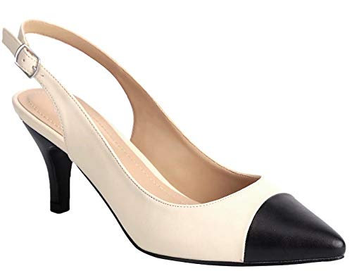 (Greatonu Womens Slingback Dress Pump (40 EU/9 US, Black and Beige))