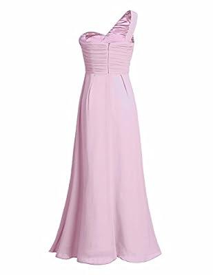 FEESHOW Women Ladies Bridesmaid Dress Chiffon One-shoulder Split Slit Long Evening Prom Gown