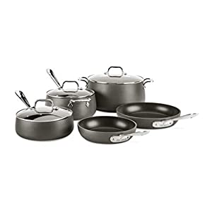All-Clad 8400001963 HA108AZ HA1 Hard Anodized Nonstick Dishwasher Safe PFOA Free Cookware Set, 8-Piece, Black 2