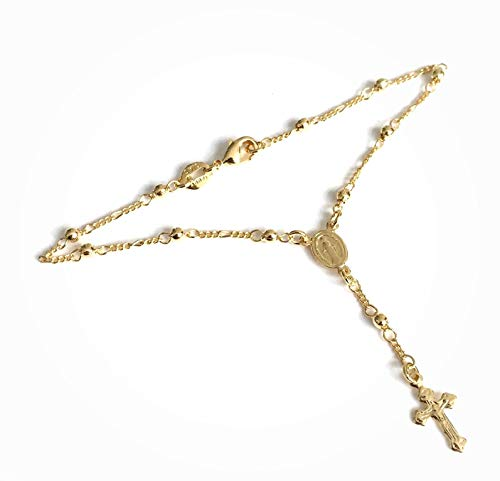 (Catholic Bracelet for Women Small Rosary 18K Gold Plated Ball Chain )