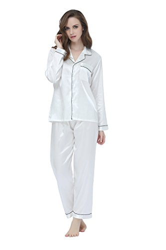 Tony & Candice Women's Classic Satin Pajama Set Sleepwear Loungewear (X-Large, White) -