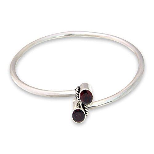 NOVICA Garnet .925 Sterling Silver Bangle Bracelet, 7.5
