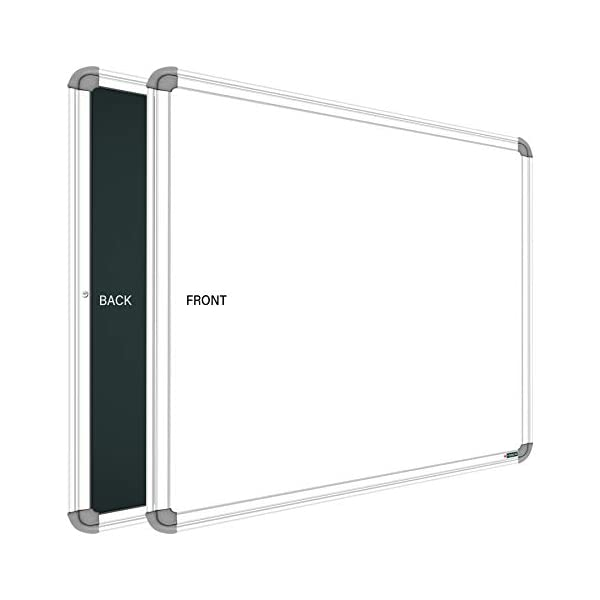 YAJNAS Non Magnetic 1.5x2 Feet Double Sided White Board and Chalk Board Both Side Writing Boards, one Side White Marker and Reverse Side Chalk Board Surface - Pack of 1 3