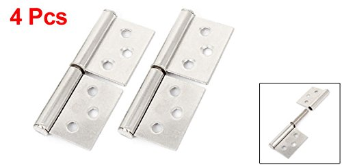 Pack of 4 Uxcell a14103100ux0235 Wardrobe Closet Door 3 Length Stainless Steel Flag Type Hinges 4 Pcs