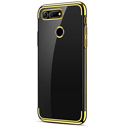 IKASEFU Compatible with Huawei Honor View 20/V20 Case Clear Soft TPU Silicone Rubber Ultra-Thin Slim Fit Plating Transparent Shock-Absorption Shockproof Bumper Flexible Protection Case Cover,gold