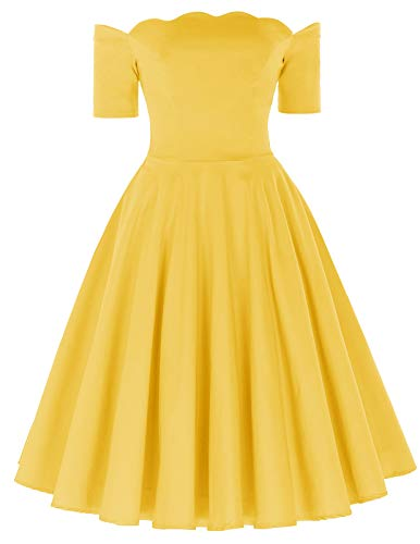Audrey Hepburn Style 50s Fit and Flared Dress Long Sleeve Yellow Size L