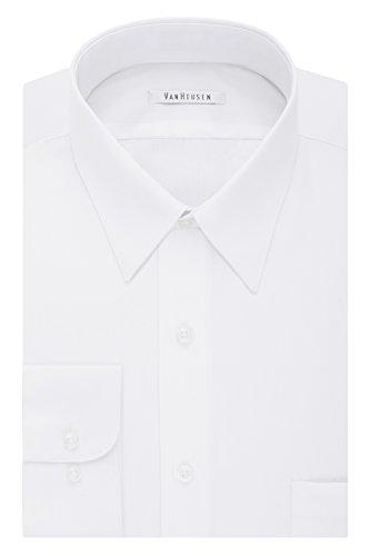 Van Heusen Men's Tall Size Big Dress Shirt Fit Poplin, White, 18