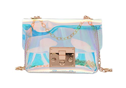 (Marchome Women Girls Hologram Push Lock Closure Envelope Crossbody Shoulder Handbag with Chain )