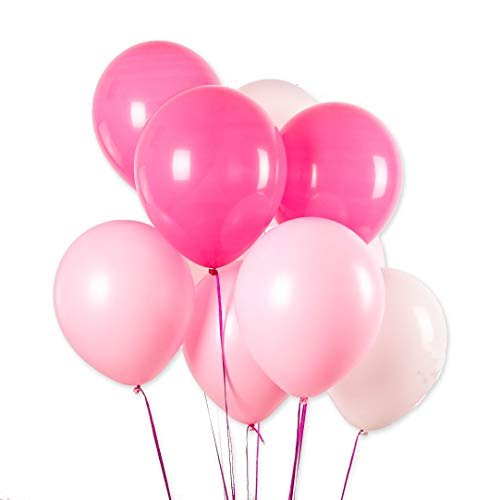 100 Pcs 12 inch 3.2 g Thicken Pearlized Latex Balloons for Girl Birthday Party Wedding Decorations and Proposal Romantic Party Supplies (White Balloon+Pink Balloons+Rose Red Balloons)