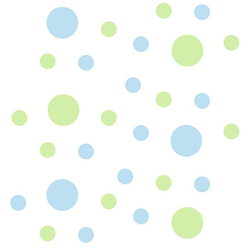 Set of 30 - Circles Polka Dots Vinyl Wall Graphic Decals Stickers (Baby Blue/Baby Green)