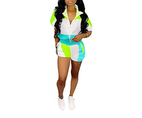 HAOAN Women Casual 2 Piece Outfits Color Block Front Zipper Jacket Pocket Shorts Tracksuits Blue, Large