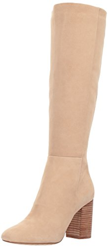 Kenneth Cole New York Women's Clarissa Knee High Tall Stacked Heel Engineer Boot, Almond, 7 M US - Almond Calf Sandals