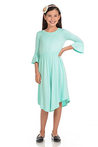 Honey Vanilla Girls' Fit and Flare Midi Dress with Bell Sleeve Small 5-6 Years Mint