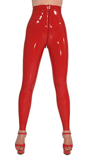 AvaCostume Women's Latex Rubber Pants Jeans Leggings More Color Available, L, Black (Latex Rubber Pants)