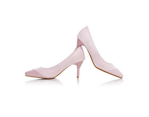 Chfso Donna Moda Abito Splicing Stiletto Tacchi Alti Scarpe Rosa