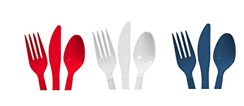 Red, White & Blue - 48 Spoons, 48 Forks, 48 Knives - 4th of July - Americana