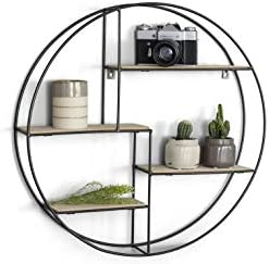 LIFA LIVING Round Wall Shelf Unit 4 Tier Floating Shelves for Kitchen Bedroom Living Room Wooden Black Metal Mounted Shelves Decorative Hanging Shelves Pre-assembled Shelving 22×4,5 inches