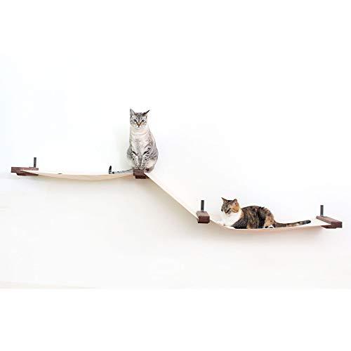 CatastrophiCreations Fabric Raceway Multiple-Level Cat Hammock Wall-Mounted Shelving, English Chestnut, Large