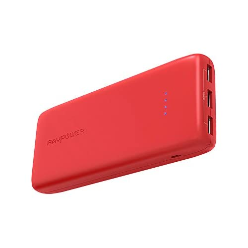 chollos oferta descuentos barato RAVPOWER Baterias Externa 22000mAh Rapida 3 Puertos USB Salida Power Bank Resistente al Fuego Cargador Portátil para iPhone Samsung Huawei Smartphone Tablet Rojo