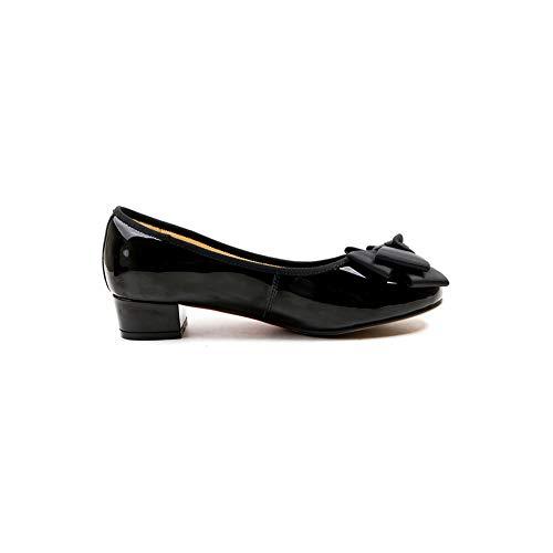 BalaMasa Charms Bows Pumps Black APL11063 Shoes Urethane Womens Solid OrwrEt