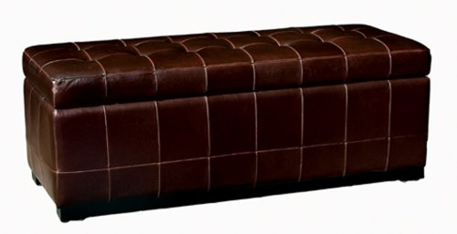 Baxton Studio OMY-105-J001-DK BRN Full Leather Storage Bench Ottoman, 16.9