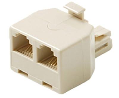 RJ11 Phone Line Y-Splitter (1 Plug to 2 Sockets), Ivory, 6P4C Modular Coupler