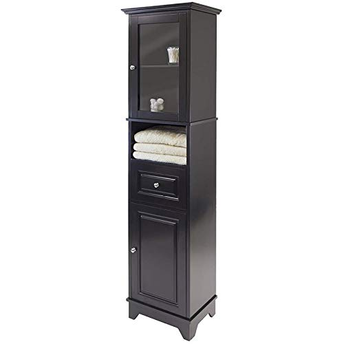 BOWERY HILL Tall Bathroom Storage Cabinet with Glass Door, Adjustable Top Shelf and Drawer – Fits Tight Corners and Narrow Space, Solid Wood in Black