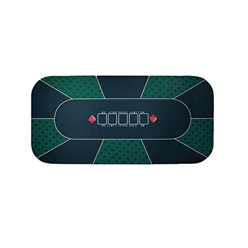 Firstand Professional Sure Sick Rubber Foam Poker Table Top Layout for Up to 8 Players to Play Cards Poker Mat - Green ()