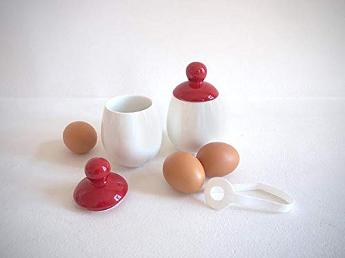 AggCoddler - XXL Porcelain & Silicone Egg Cookers - Easily Cook Eggs with Toppings & Mix-Ins - Microwave & Dishwasher Safe - Steam, Poach, Boil Eggs - Displays Well in Kitchen (2, Red- Hanna)