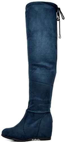 Droompaar Dames Over De Knie Dij Hoge Stretchlaarzen Blauw