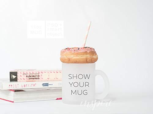 11oz Frosted Mug Mockup PSD Smart Object 11oz Glass Mug Image Styled Stock for Social