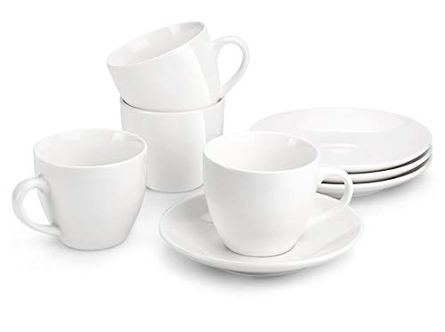 MIWARE 8 Ounce Porcelain Cappuccino Cups with Saucers - Set of 4, Perfect for Specialty Coffee Drinks, Latte, Cafe Mocha and Tea, White (Porcelain Tea Coffee)