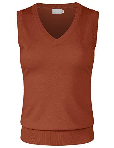 (JSCEND Women's Solid Basic V-Neck Sleeveless Soft Stretch Pullover Sweater Vest Top Rust S )