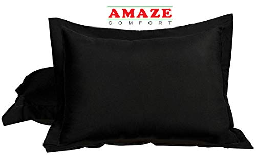 - Queen Pillow Shams Set of 2 Black 600 Thread Count 100% Natural Cotton Envelop Closer Pillow Shams Queen 20X30 Cushion Cover Decorative Pillow Cover Tailored Poplin (Queen 20 x 30, Black)