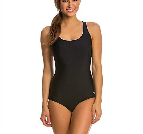 Speedo Women's Piped Ultraback Swimsuit - Black, Medium (Ultraback Swimsuit Womens)