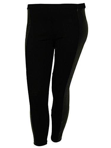 Michael Kors Women's Faux Leather Stripe Stretch Fabric Pants (PP, (Michael Michael Kors Womens Stripe Pant)