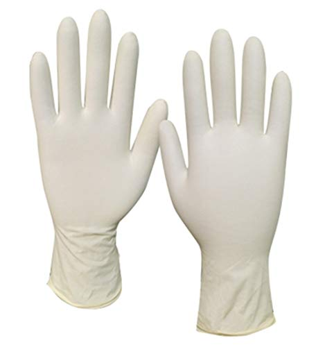 Latex Disposable Gloves Powder Free Exam Gardening Cooking Cleaning 100PCS DN1002 (Ivory-L)