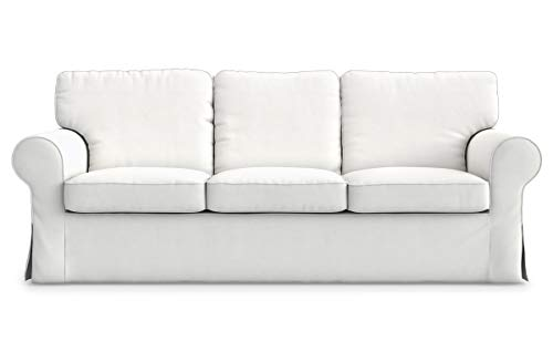 TLY Cotton Ektorp 3 Seat Sofa Cover Slipcover Replacement Made for The IKEA Ektorp 3 Seat Sofa Cover(Cotton White)