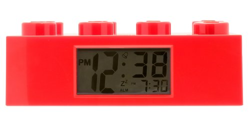 Clock Lego - Lego 9002168 Red Brick Kids Light Up Alarm Clock | red | Plastic | 9.5 inches Tall | LCD Display | boy Girl | Official
