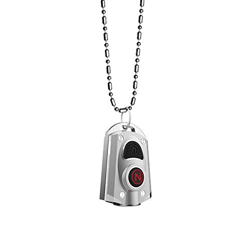 NEBO 400-Lumen Key Chain Flashlight: Features 6 Unique Light Modes, Including 400 Lumen Turbo Mode and 3 LED Color Options; Easily Secured via Necklace, Lanyard or Keyring  MYCRO 6714 (Silver)
