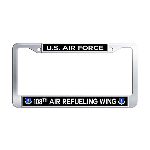- US Air Force 108th Air Refueling Wing License Plate Frame,Stainless Steel Car Plate Frame