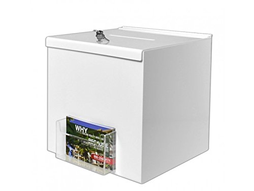Marketing Holders White 12''W x 12''H Locking Suggestion Box with Postcard Pocket & 2 Keys Lot of 6 by Marketing Holders