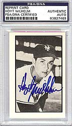 Hoyt Wilhelm Signed 1953 Bowman Reprint Trading Card #28 New York Giants - PSA/DNA Authentication - Autographed MLB Baseball Cards from Sports Collectibles Online