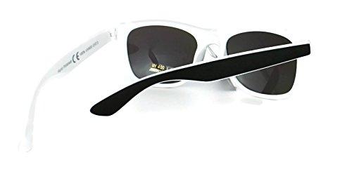 Black White Retro Unisex UV400 dos Classic New de Espejo de Wayfarer Gafas Lens Vintage Blue reflective amp; sol frame Lentes tonos v77aq6