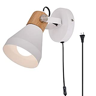 TeHenoo Contemporary White Wall Sconce, Rotatable Wall Lamp with Plug-in Cord for Master Bedroom, Living Room, Guest Room