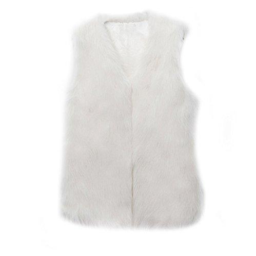 Chleco Vest Chaleco Blano Abrigo Chaleco Sin Pelo Mangas Mujer para Fur Mujer Mujer Sin VLUNT Invierno Piel Piel Mangas Chaqueta SUxHtqSZw