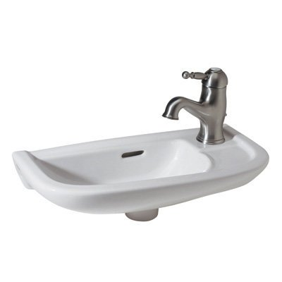 Rohl 1090-00 Allia Linea Hand Rinse Basin Sink with Overflow and Single Faucet Hole, White